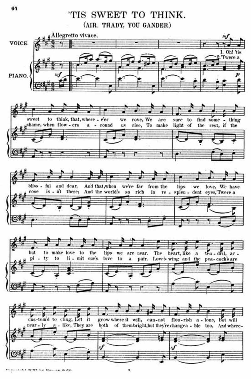 Music score to 'Tis sweet to think