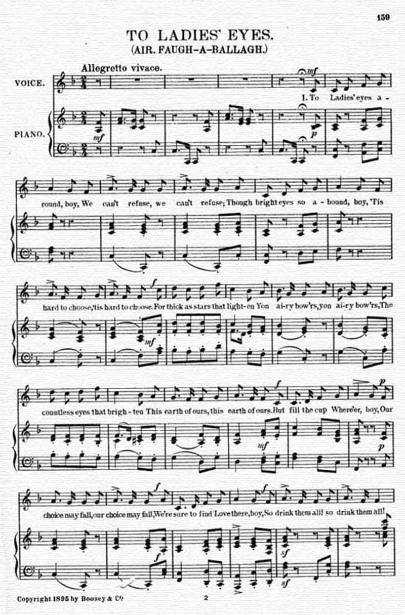 Music score to To ladies' eyes