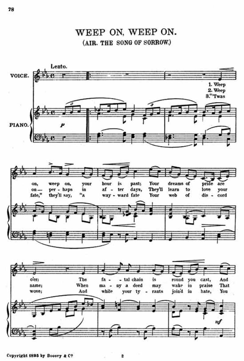 Music score to Weep on, weep on