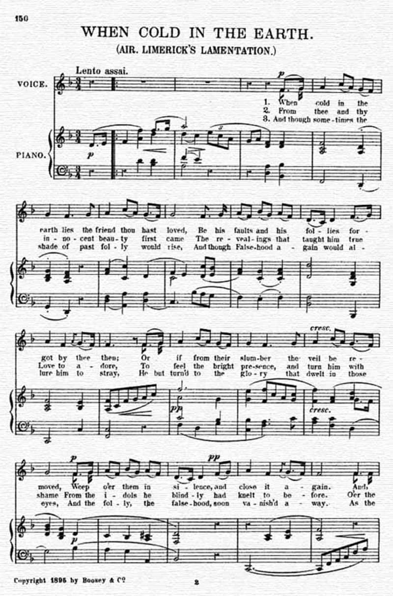 Music score to When cold in the earth