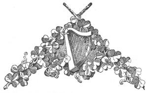 Irish Harp and Shamrock Emblem